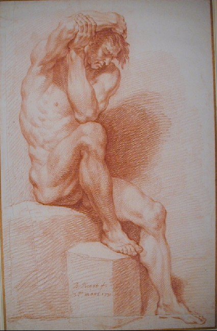 A male nude, seated on a block facing right, with his right arm bent over his head