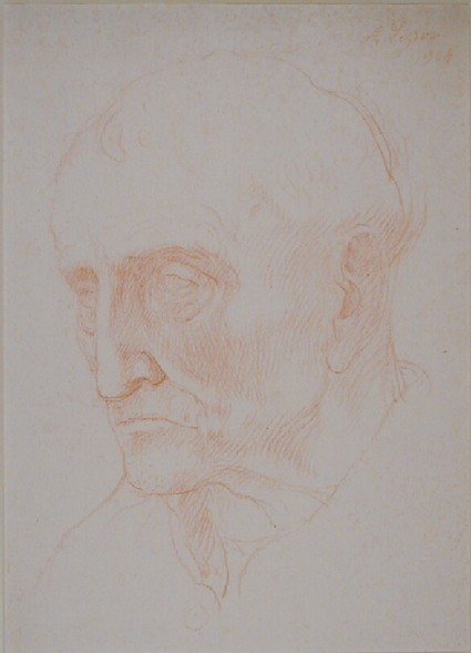 Head of an old man, turned three-quarters to left, with a separate study of his left nostril
