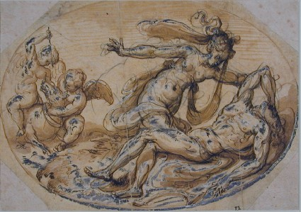 Scene from classical Legend. Design for an oval Composition