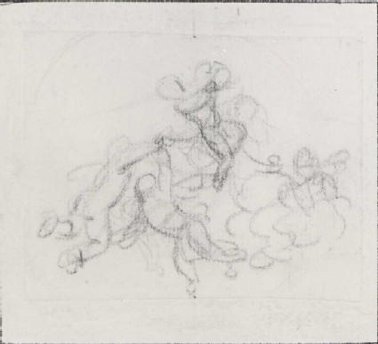 Group of Putti flying on a Cloud