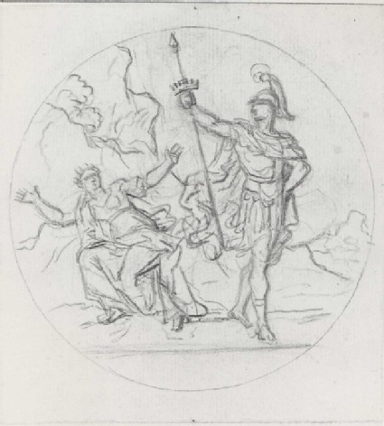 Soldier on the right holding a Spear and a Woman on the left, Arms outspread