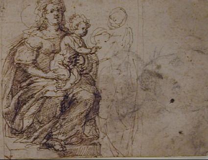 Recto: The Virgin and Child<br />Verso: Design for a Door Knocker