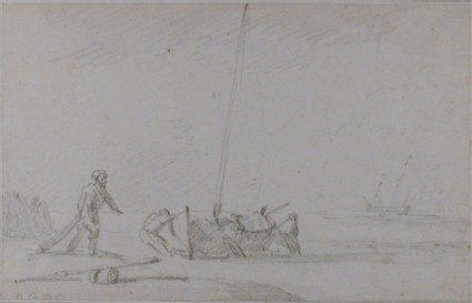 Men hauling up a fishing Boat on the Shore