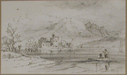 Mountain lake with castle and a couple in a boat