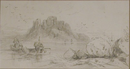 People in small boats in front of a castle on a rocky island