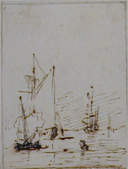 A Yacht becalmed near the Shore