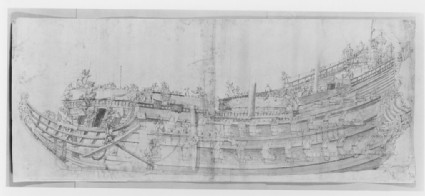 Close broadside study of a large two-decked vessel