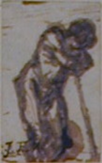 A peasant leaning on a spade