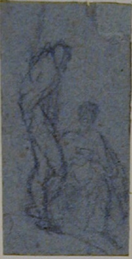 Two figures, one standing, the other seated