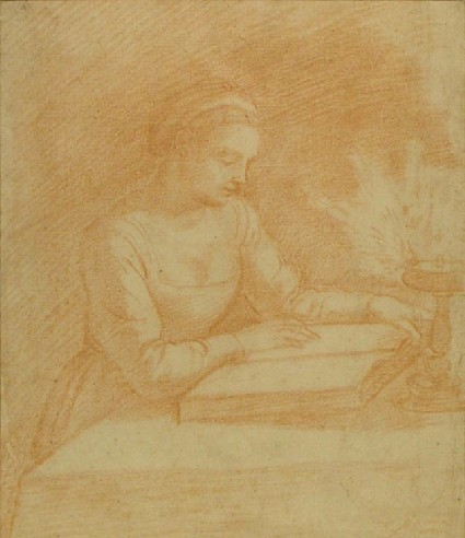 A woman reading by lamp-light