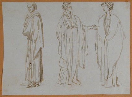 Recto: Three Studies of Women in classical Costume