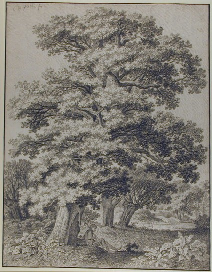 Woodland Landscape with a Man resting beneath an Oak Tree