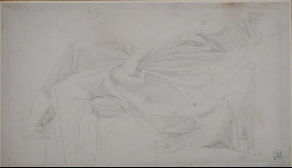 A drapery study for a figure reclining to right