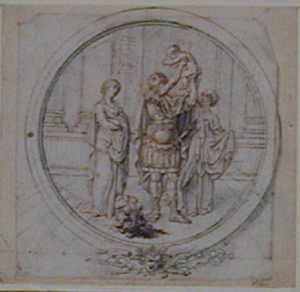 A classical Warrior (Hector) Holding up his Child