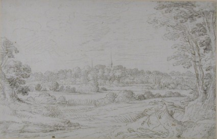 Wooded Landscape with Two Steeples