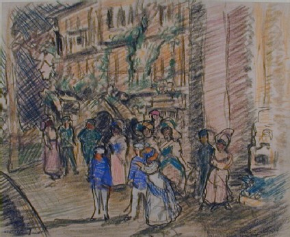 A theatrical street scene