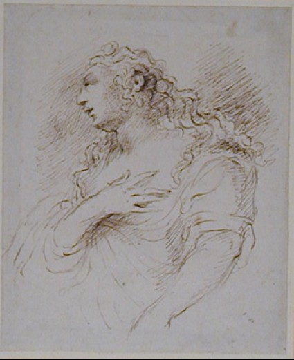 Study of a Woman with Long Hair, possibly a Penitent Magdalen
