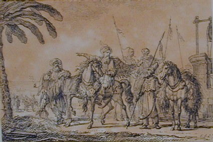 Group of five oriental warriors, three on horseback, by a well