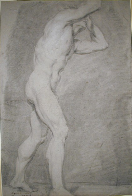 Academic study of a male nude, walking to right