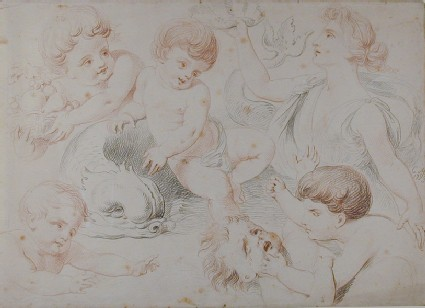 Studies of Putti with a Dolphin and Venus holding a Shell
