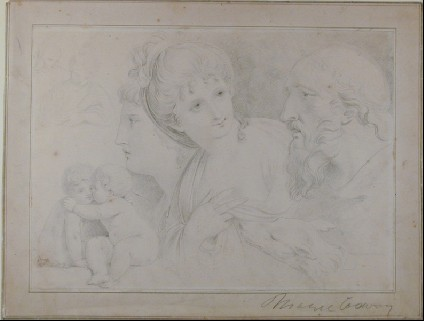 Study of Heads, Putti and a Dog