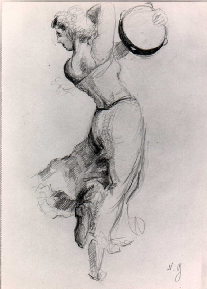 Sketch of a woman dancing with a tambourine