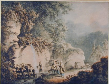 Romantic Landscape with Peasants beside a Stream