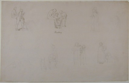 Sheet of studies: Classical figures, and familiar subjects