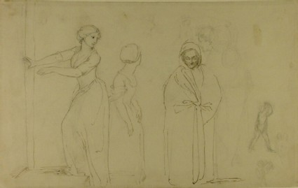 Recto: Sheet of studies: an old woman, two girls and other figures