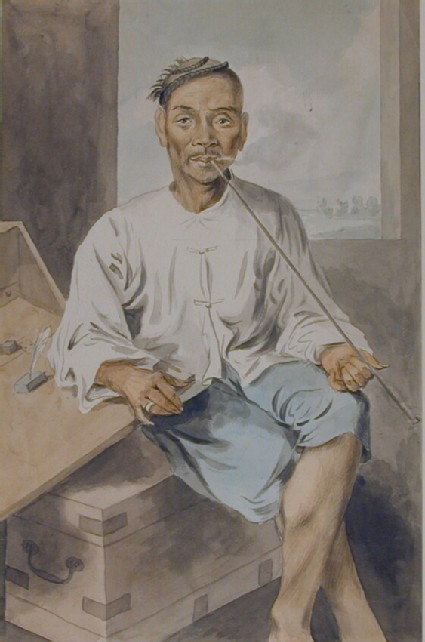 A Seated Chinese Man Smoking a Pipe