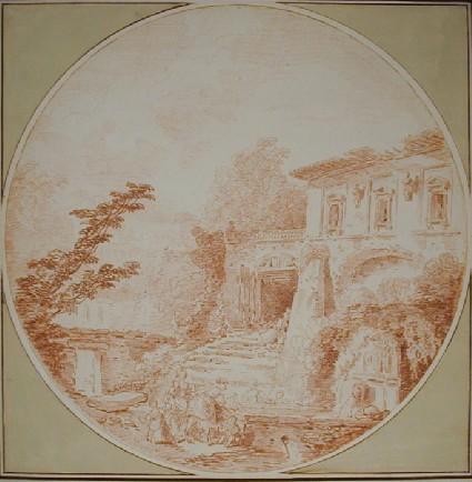Italian Villa with Washerwomen in the foreground