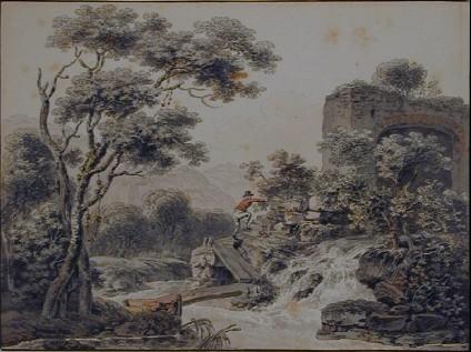 River Landscape with a Man crossing a Bridge