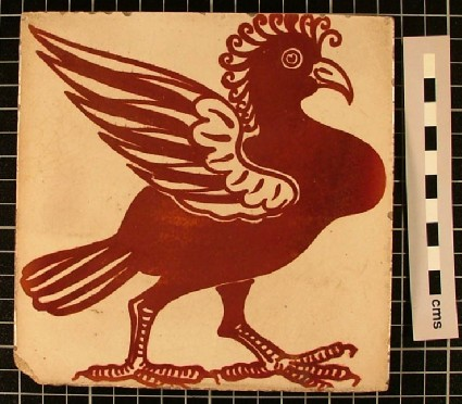 Tile with red crested bird