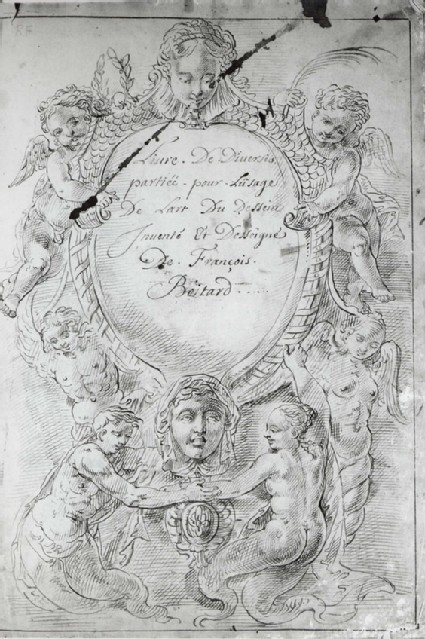 Frontispiece: Cartouche with two Masks supported by marine Deities and other Figures