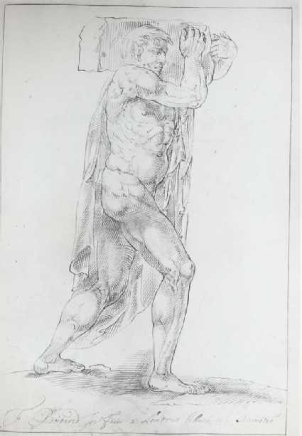 Nude Man, carrying a heavy Block on his left Shoulder