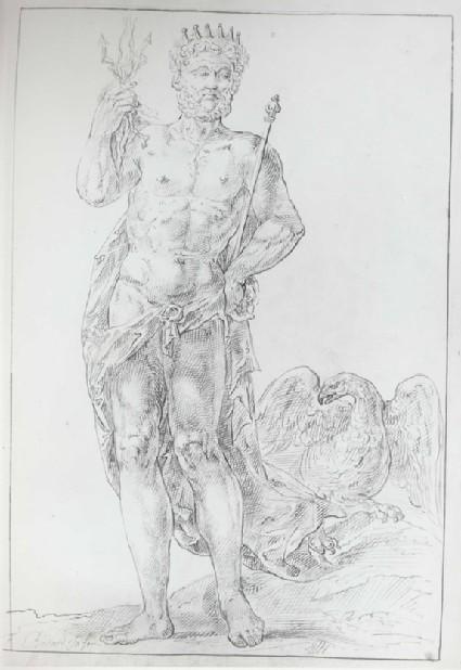 Jupiter, holding a Thunderbolt in his right Hand