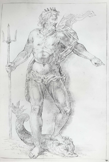 Neptune standing with his left Foot on a Dolphin