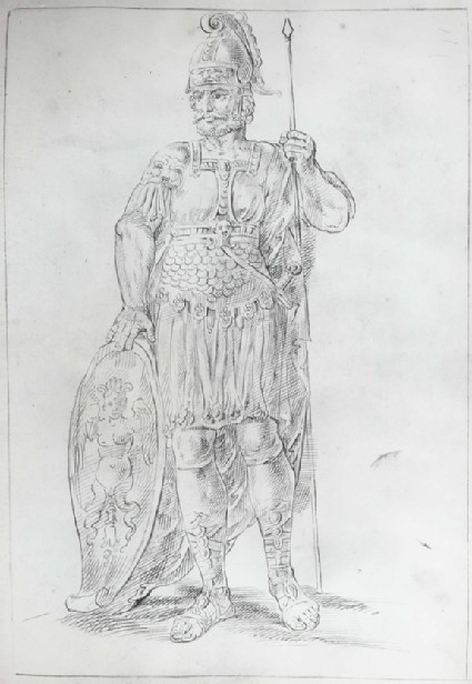 Mars, resting his right Hand on a Shield