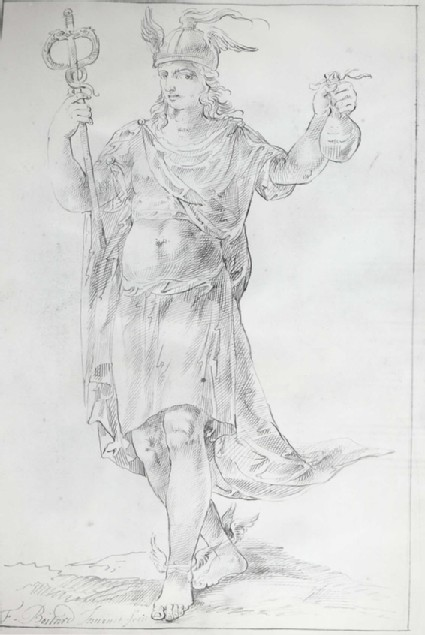 Mercury, holding his Caduceus and a Moneybag
