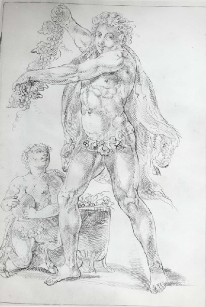 Bacchus, holding a Vine, with a crouching Satyr