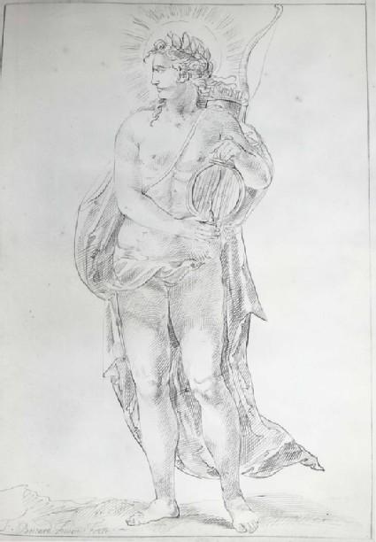 Apollo holding a small Lyre