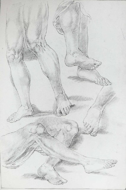 Three Studies of a Man's Legs and one of his right Foot