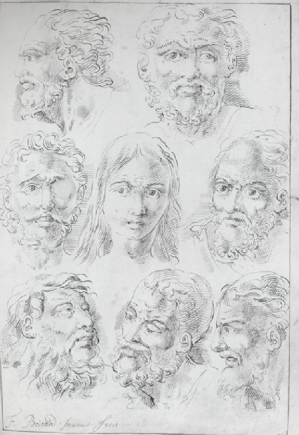 Seven Studies of a bearded Head and one of a younger Man's Head