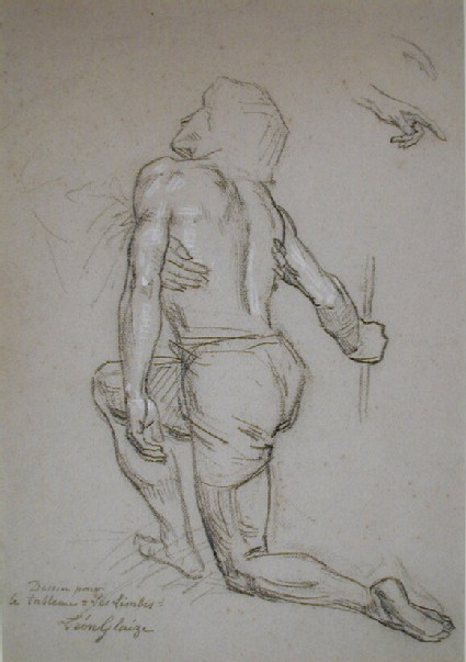A man kneeling, seen from behind