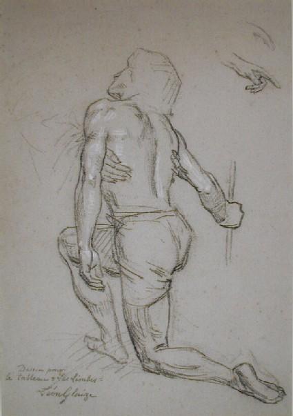 A man kneeling, seen from behind