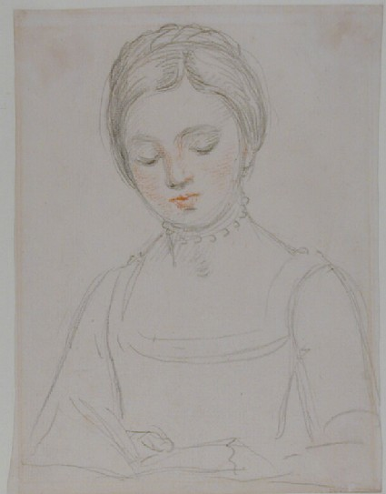 Bust of a young Girl, eyes lowered, reading