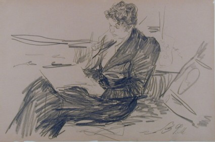 Seated Woman, in profile, reading