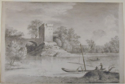 Landscape with a Tower and a Bridge beyond a River