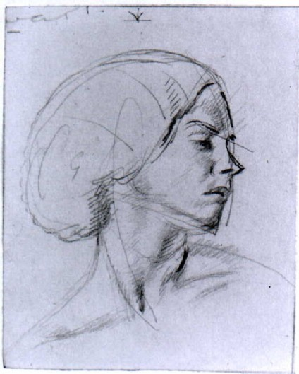 A Woman's Head, turned in profile to the Left