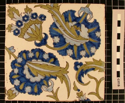 Tile with Iznik style floral design